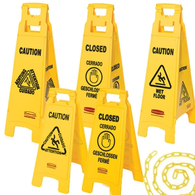 Rubbermaid® 2 & 4-Sided Floor Signs with Multi-Lingual Imprints
