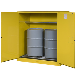 110 Gallon Manual-Close Justrite ® Sure-Grip ® EX Single Vertical Drum Cabinet with Roller Assembly