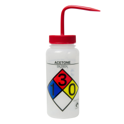 500mL (16 oz.) Scienceware ® Acetone Wide Mouth Safety-Labeled Wash Bottle with Red 53mm Cap