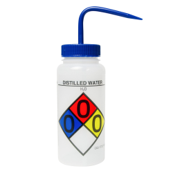 500mL Distilled Water Wide Mouth Safety-Labeled Wash Bottle