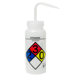 500mL (16 oz.) Scienceware ® Ethanol Wide Mouth Safety-Labeled Wash Bottle with Natural 53mm Cap