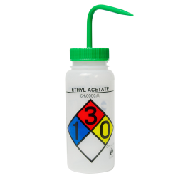 500mL (16 oz.) Scienceware ® Ethyl Acetate Wide Mouth Safety-Labeled Wash Bottle with Green 53mm Cap