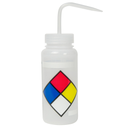 500mL (16 oz.) Scienceware ® LYOB (Label Your Own) Wide Mouth Safety-Labeled Wash Bottle with Natural 53mm Cap