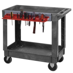 3 Shelf Quantum Plastic Utility Cart with Tool Holder - 34-1/4