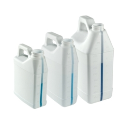 64 oz. White F-Style Jug with Window Strip & 38/400 Neck (Cap Sold Separately)