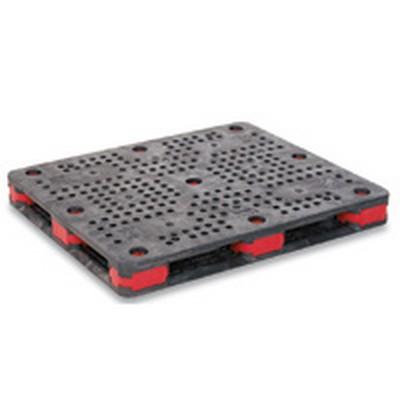 """Bulk-Pal® Pallet 44"""" x 56"""" Black w/2.5"""" Red Connectors"""