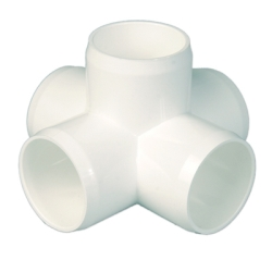 "1-1/4"" White 5 Way Cross"