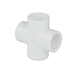 """3/4"""" Schedule 40 White PVC Socket Cross"""