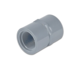 "3/4"" Light Gray Schedule 80 CPVC Threaded Straight Coupling Fitting"