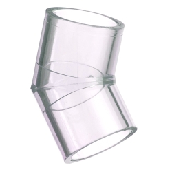 "6"" Clear Schedule 40 PVC 45° Elbow"
