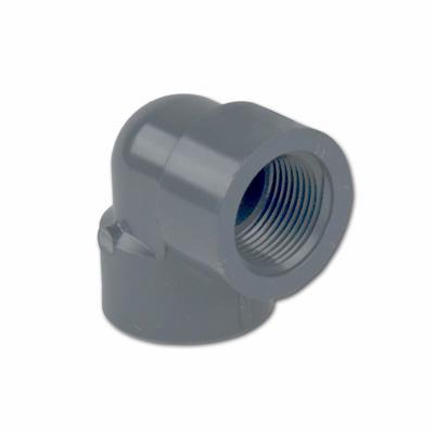"1"" Schedule 80 Gray PVC Threaded 90° Elbow"
