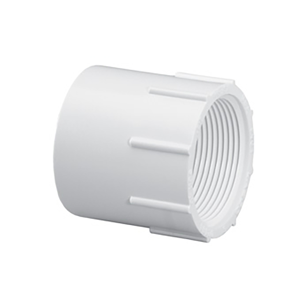 "1-1/4"" Schedule 40 White PVC Thread x Socket Female Adapter"
