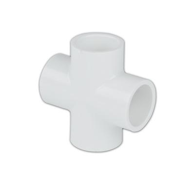 """1/2"""" Schedule 40 White PVC Socket Cross"""