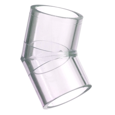 "1-1/4"" Clear Schedule 40 PVC 45° Elbow"