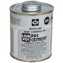 Quart PVC Gray Schedule 80 Low VOC Heavy Bodied Cement