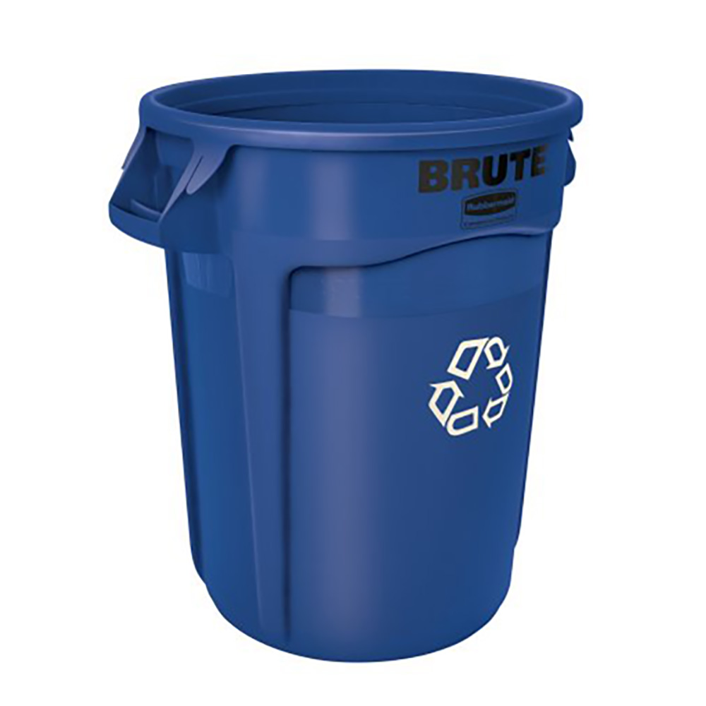Rubbermaid® Brute® 32 Gallon Round Recycling Container & Dolly