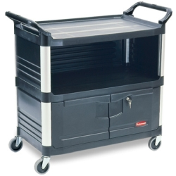 Black Rubbermaid ® X-Tra™ Cart with Lockable Doors and Side End Panels - 40-5/8