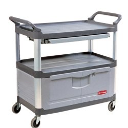 Gray Rubbermaid ® X-Tra™ Cart with Lockable Doors and Sliding Top Drawer - 40-5/8
