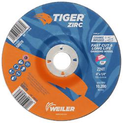 "6"" Dia. x 1/4"" Thickness x 7/8"" Arbor Hole Weiler ® Tiger ® Zirconia Grinding Wheel - Type 27"