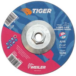 "6"" Dia. x 1/4"" Thickness x 5/8""-11 Hub Weiler ® Tiger ® Premium Aluminum Oxide Grinding Wheel - Type 27"