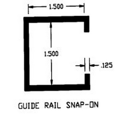"""1.5"""" x 1.5"""" ID UHMW Guide Rail Snap-On Extruded Profile"""