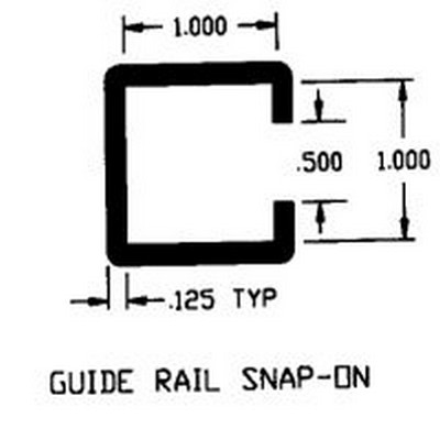 "1"" x 1"" ID UHMW Guide Rail Snap-0n Extruded Profile"