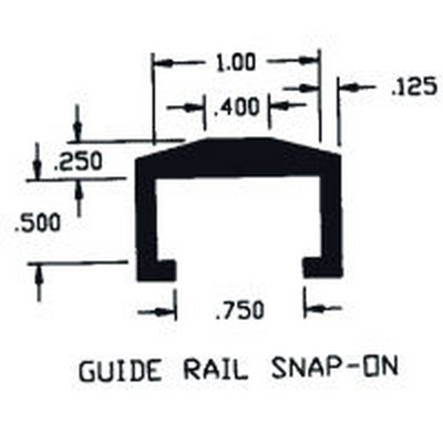 "1.00"" x .500"" ID Guide Rail Snap-On Extruded Profile"