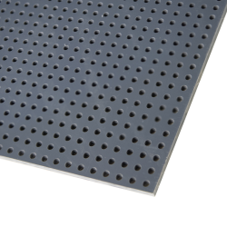 "1/16"" x 48"" x 96"" Gray PVC Perforated Sheet with Staggered Rows - 1/8"" Holes on 3/16"" Centers"