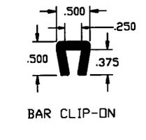 "Duravar UHMW-PE 1/4"" Bar Clip-On Extruded Profile"