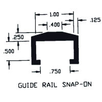"Duravar UHMW-PE 1/2"" Deep Guide Rail Snap-On Profile"