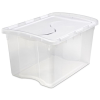"Sterilite® 48 Quart Clear Hinged Lid Storage Box with White Lid - 22-3/8"" L x 15-7/8"" W x 13-1/8"" H"