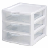 "Sterilite® Small 3 Drawer Unit with White Frame - 8-1/2"" L x 7-1/4"" W x 6-7/8"" H"