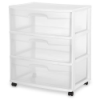 "Sterilite® 3 Drawer Wide Cart with White Frame -  15-1/4"" L x 21-7/8"" W x 25-5/8"" H"
