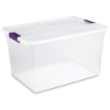 "Sterilite® 66 Quart ClearView Latch™ Box with Sweet Plum Handles - 23-5/8"" L x 16-3/8"" W x 13-1/4"" H"