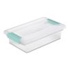 """Sterilite® Small Clip Box with Aqua Marine Latches - 11"""" L x 6-5/8"""" W x 2-3/4"""" H"""