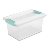 "Sterilite® Medium Clip Box with Aqua Marine Latches - 11"" L x 6-5/8"" W x 5-3/8"" H"