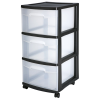 "Sterilite® 3 Drawer Cart with Black Frame - 14-1/2"" L x 12-5/8"" W x 25-5/8"" H"