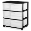 "Sterilite® 3 Drawer Wide Cart with Black Frame -  15-1/4"" L x 21-7/8"" W x 25-5/8"" H"