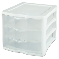 "Sterilite® 3 Drawer Unit with White Frame - 13-1/2"" L x 11"" W x 9-5/8"" H"