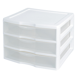 "Sterilite® Wide 3 Drawer Unit with White Frame - 14-5/8"" L x 14-1/2"" W x 10-5/8"" H"