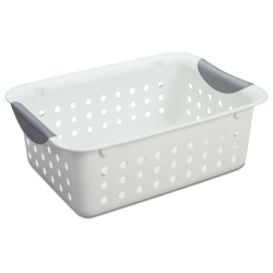 "Sterilite® Small White Ultra™  Basket - 11-1/8"" L x 8"" W x 4"" H"