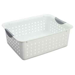 "Sterilite® Medium White Ultra™ Basket - 13-3/4"" L x 10-3/4"" W x 5"" H"