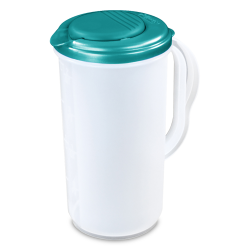 Sterilite ® 2 Quart Round Pitcher with Blue Atoll Lid & Tab - 7-1/4