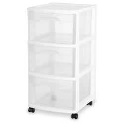 Sterilite ® 3 Drawer Cart with White Frame - 14-1/2