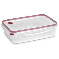 "Sterilite® Ultra•Seal™ 16 Cup Rectangle Container w/Rocket Red Accents - 12-3/8"" L x 9-1/8"" W x 3-1/2"" H"