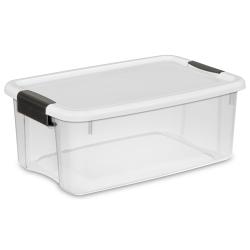 Sterilite ® 18 Quart Ultra™ Storage Box with White Lid & Titanium Latches - 18-1/8