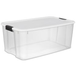 Sterilite ® 116 Quart Ultra™ Storage Box with White Lid & Titanium Latches