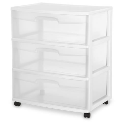 Sterilite ® 3 Drawer Wide Cart with White Frame -  15-1/4