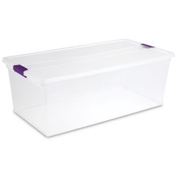 "Sterilite® 110 Quart ClearView Latch™ Box with Sweet Plum Handles - 34-5/8"" L x 18-3/4"" W x 12-5/8"" H"