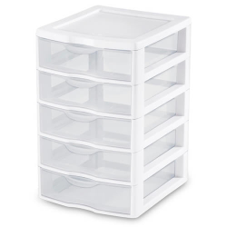 "Sterilite® Small 5 Drawer Unit with White Frame - 8-1/2"" L x 7-1/4"" W x 11-1/8"" H"